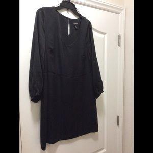 Black, long sleeved, silky material Dress